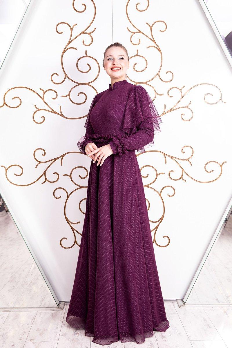 Esma Karadağ Mor Büzgü Detay Dantel Elbise