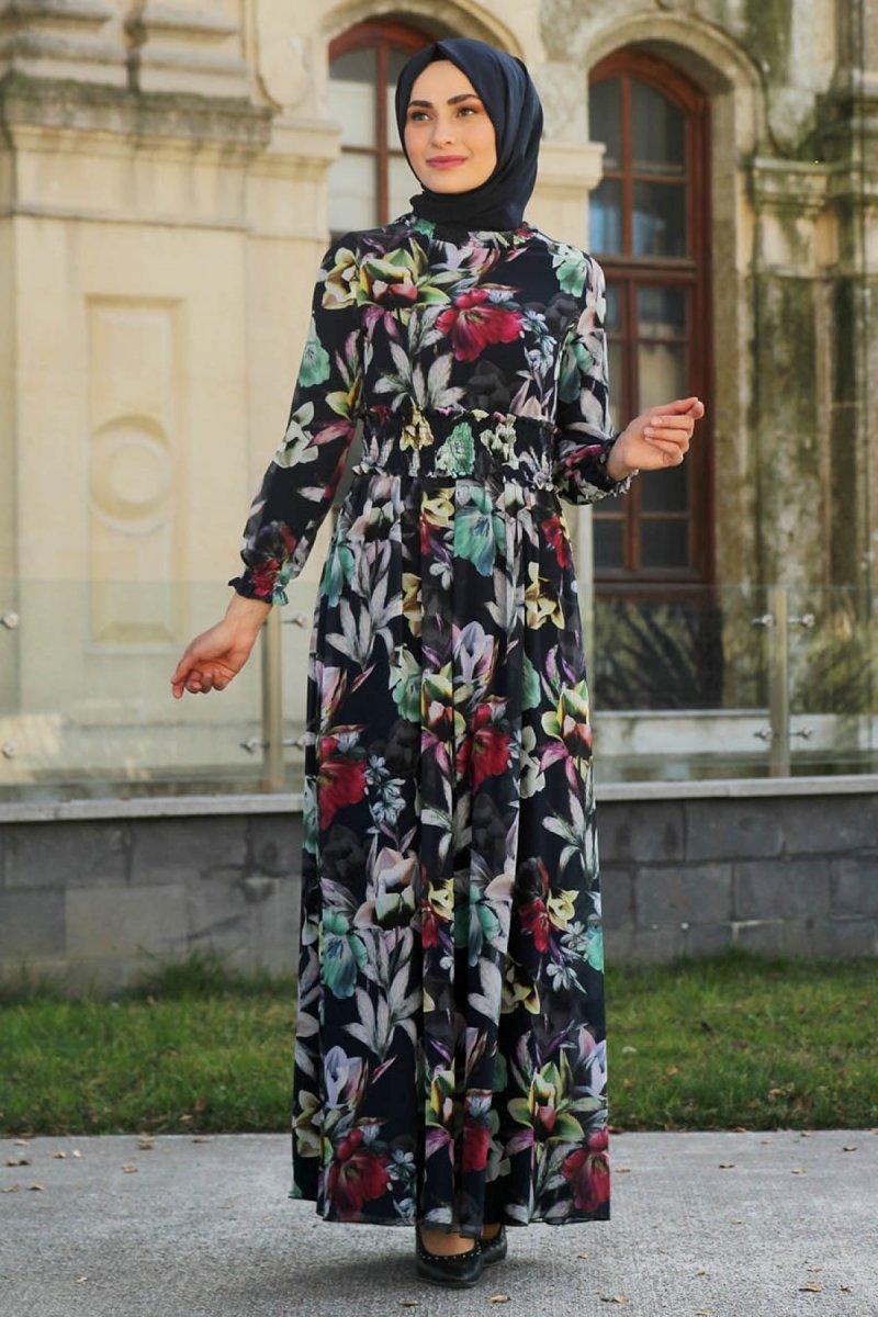Feiza Collection Lacivert Çiçekli Elbise