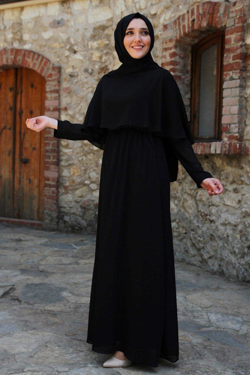 Feiza Collection Siyah Yarım Pelerinli Elbise