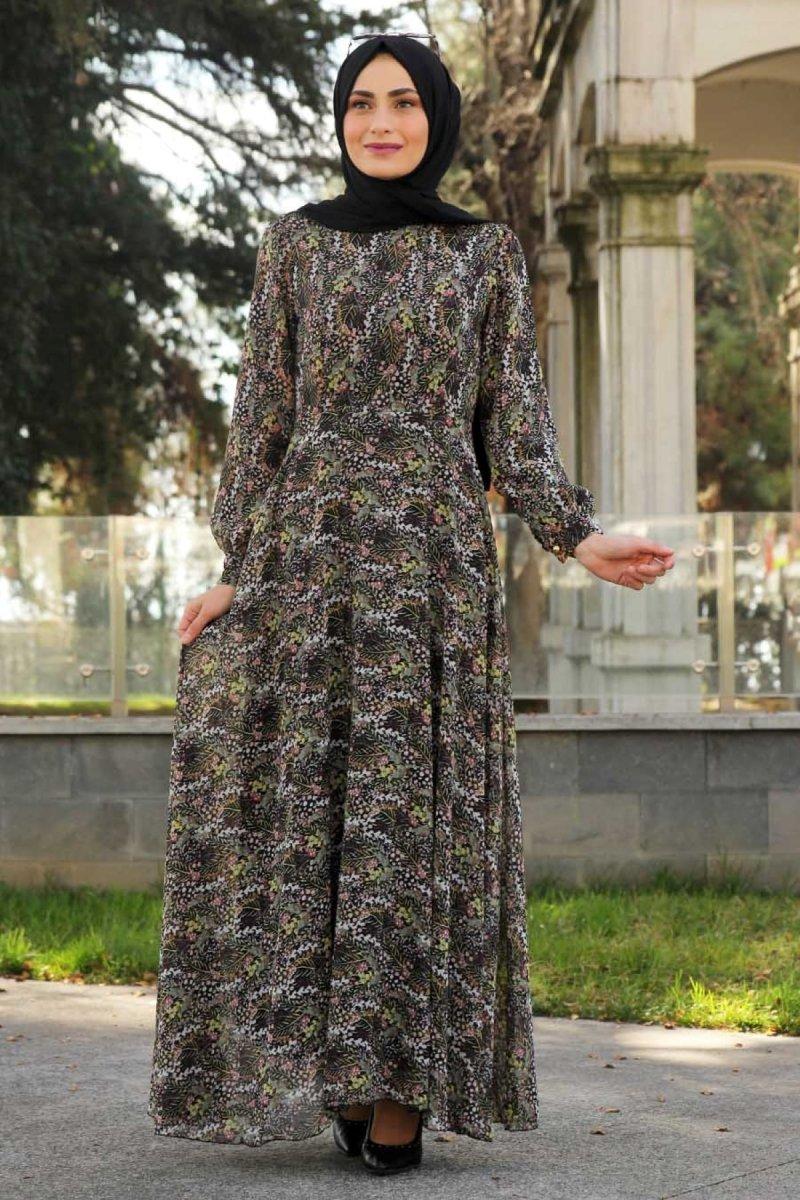 Feiza Collection Yeşil Çiçekli Elbise