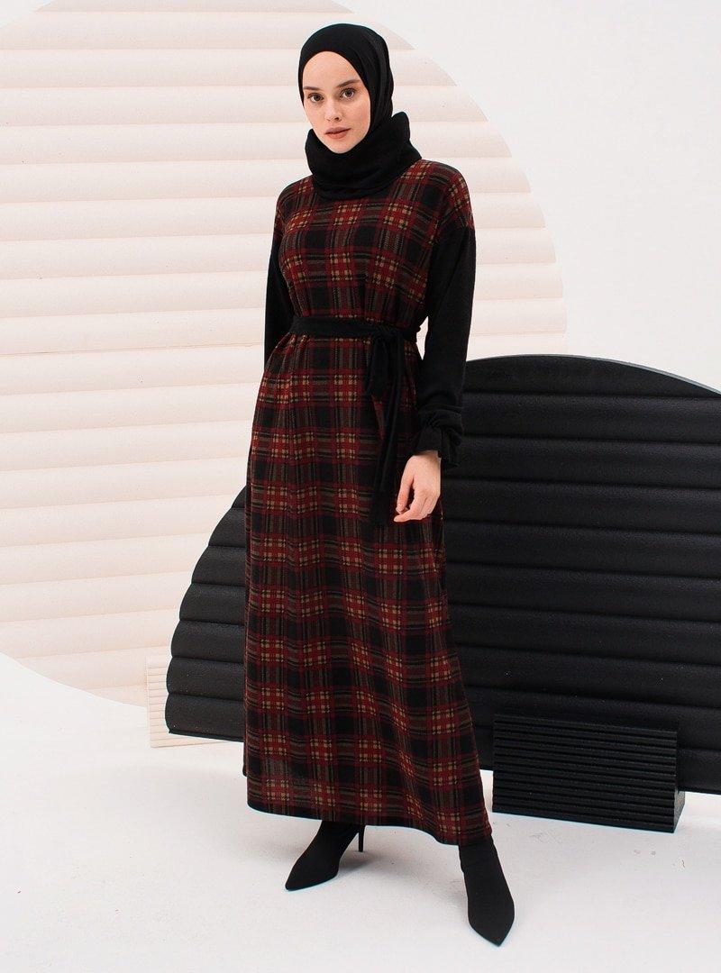 İnşirah Bordo Ekose Desenli Elbise