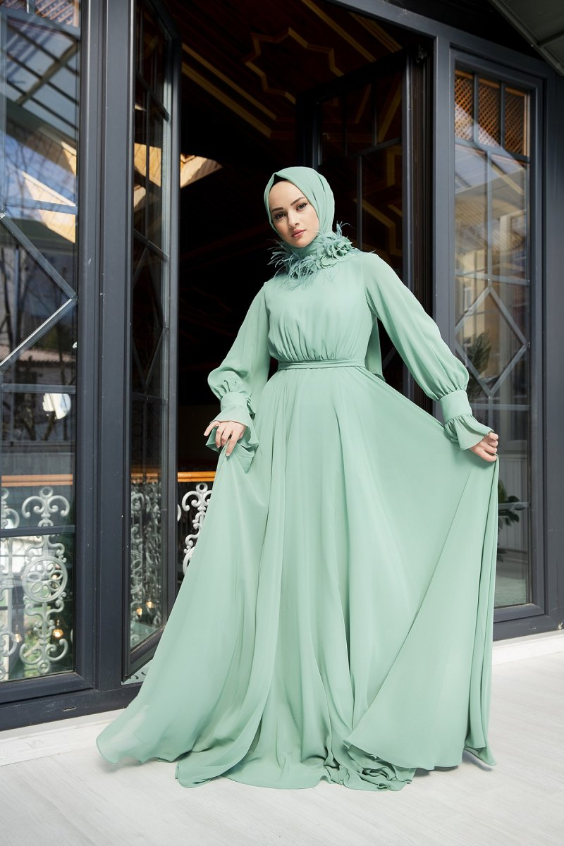 Minel Aşk Çağla Yaka Detaylı Uçuş Şifon Abiye Elbise