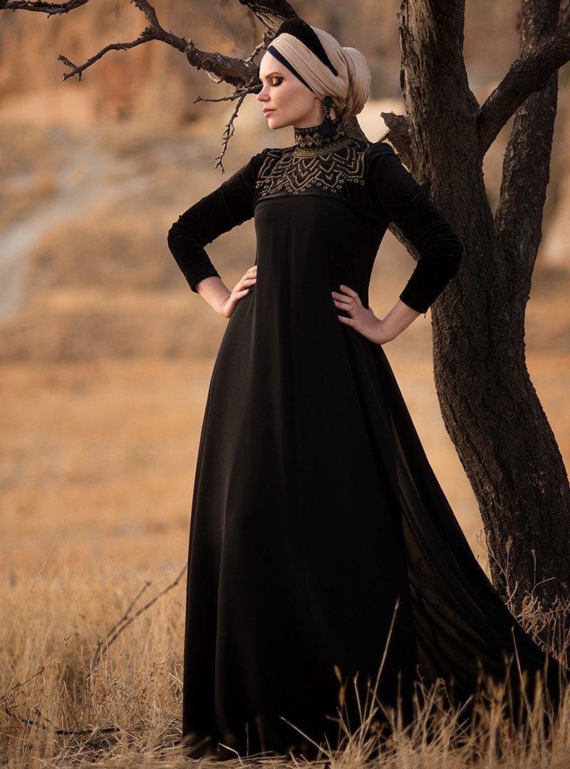 Muslima Wear Siyah Leyla Abiye Elbise