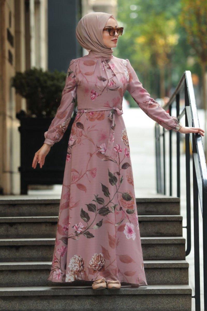 Neva Style Pudra Çiçek Desenli Elbise