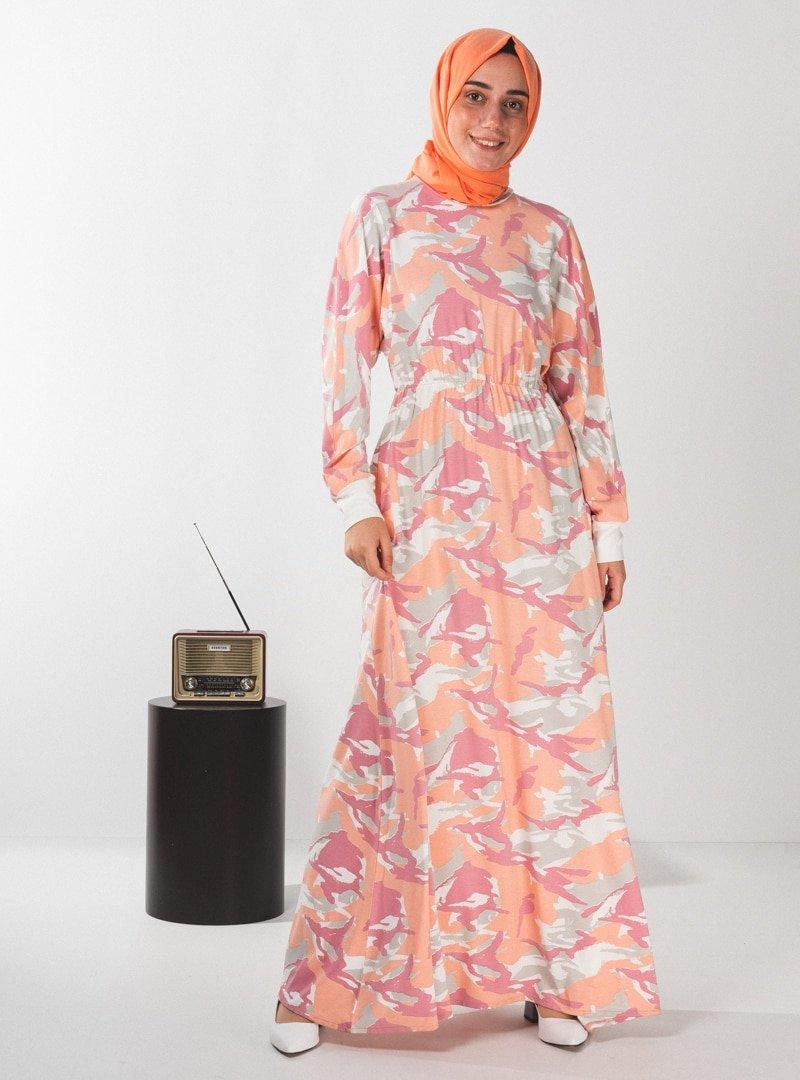 PLİSTRE Somon Desenli Elbise