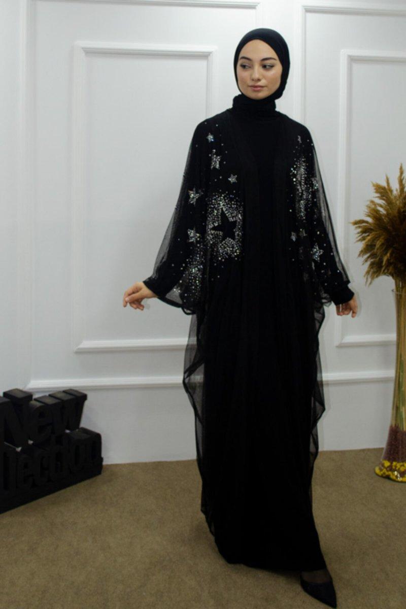 Sahraa Siyah Tül Abaya