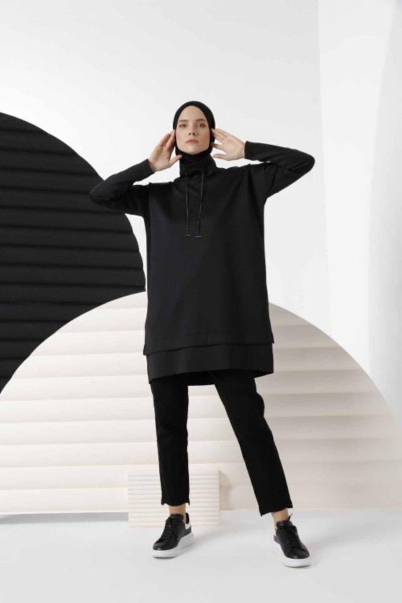 Sahraa Siyah Zincirli Tunik