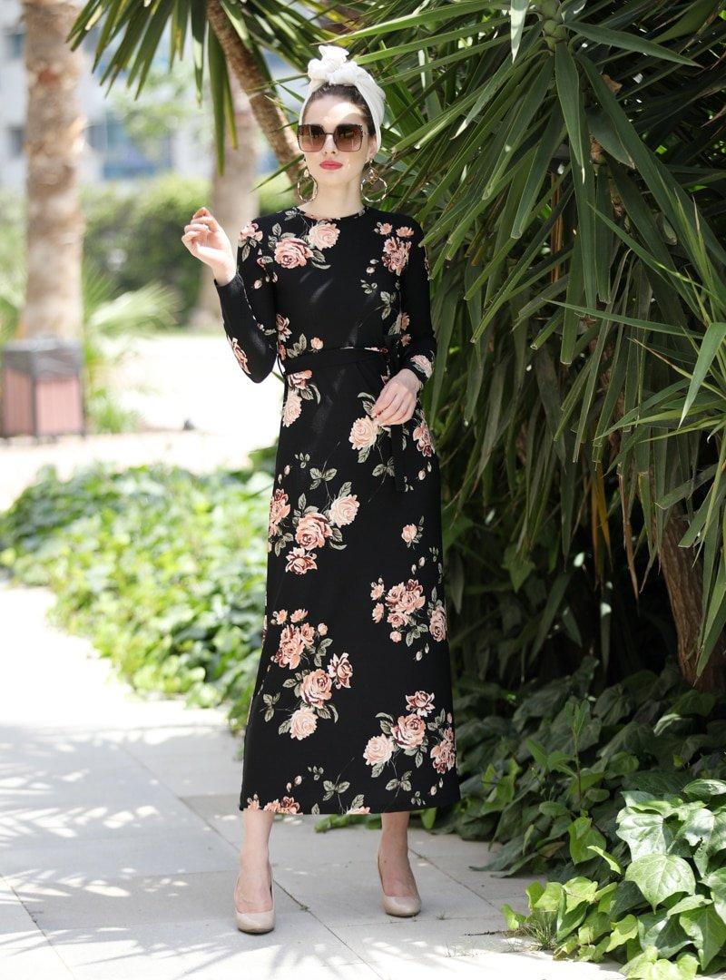 Selma Sarı Design Somon Lale Elbise