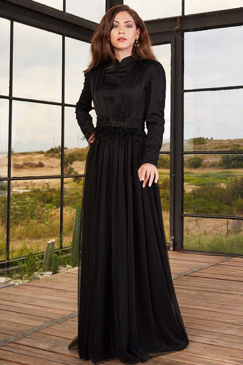 Tesetturhome Siyah Mira Abiye Elbise
