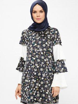 Nihan Lacivert Beyaz Desenli Tunik