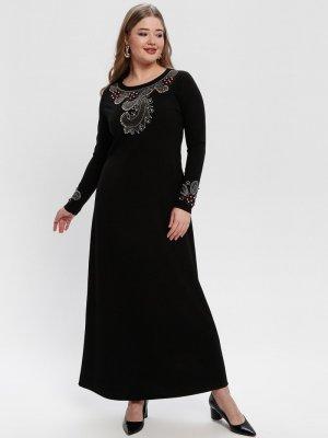 Picolina Siyah Drop Baskılı Boncuklu Elbise