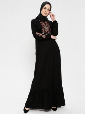 BAGİZA Siyah Nakışlı Elbise