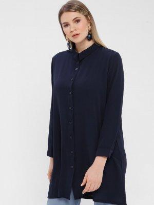 Genç Style Lacivert Uzun Gömlek