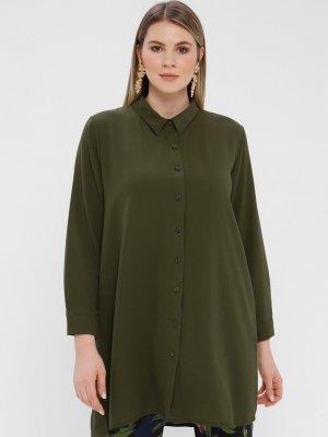 Genç Style Yeşil Uzun Gömlek