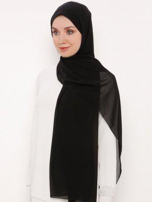 Moda Bone Siyah Düz Renkli Xxl Şal