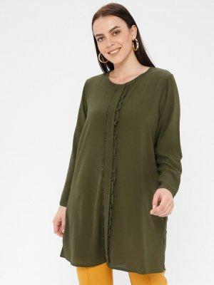 Genç Style Yeşil Fırfır Detaylı Tunik