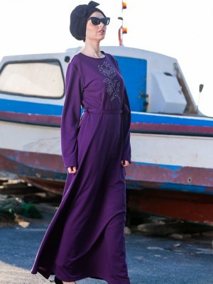Tesse Mürdüm Taş Detaylı Elbise