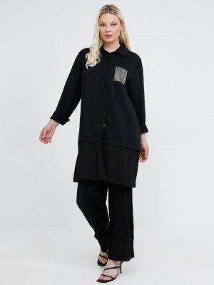 Alia Siyah Taşlı Tunik&Pantolon İkili Takım