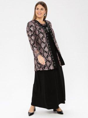 Metex Pudra Broşlu Dantelli Abiye Ceket & Elbise