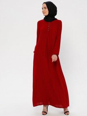 Ginezza Kırmızı A Pile Elbise