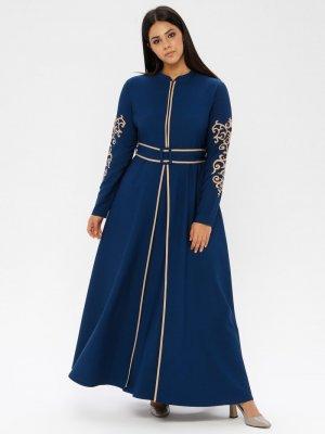 Loreen By Puane İndigo Kolları Desenli Beden Elbise