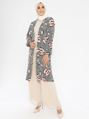 SELLY Siyah Çiçekli Desenli Kimono