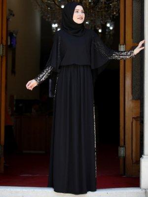 Rana Zenn Siyah Güneş Abiye Elbise