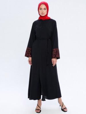 Filizzade Siyah Bordo Kolları Pul İşlemeli Ferace