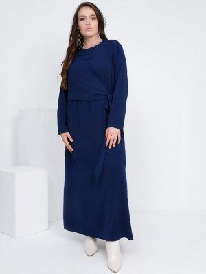 Alia Açık Lacivert Beli Bağlama Detaylı Elbise