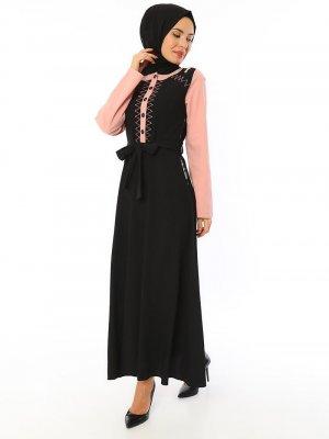 APSEN Siyah Gül Asya Kırınkıl Elbise