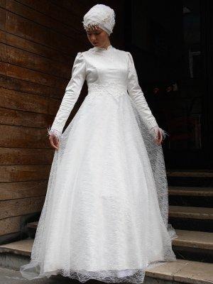 AGONYA MODA Kırık Beyaz Simli Desenli Abiye Elbise