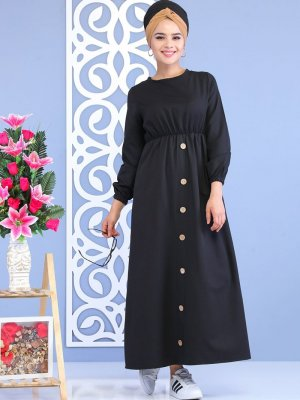 Tofisa Siyah Düğme Detaylı Elbise