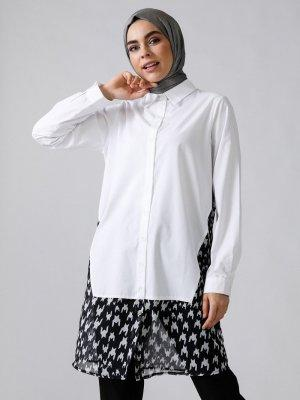 Refka Beyaz Doğal Kumaşlı Desenli Gömlek