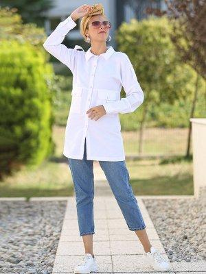 Por La Cara Beyaz Cepli Çıt Çıtlı Gömlek