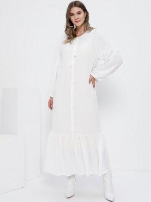 Alia Ekru Eteği Volanlı Elbise