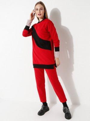 Laruj Kırmızı Sweatshirt&Pantolon İkili Takım