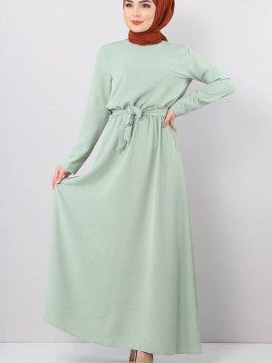 Tesettür Dünyası Mint Yeşili Beli Lastikli Ayrobin Elbise