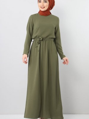 Tesettür Dünyası Haki Beli Lastikli Ayrobin Elbise