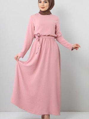 Tesettür Dünyası Pudra Beli Lastikli Ayrobin Elbise