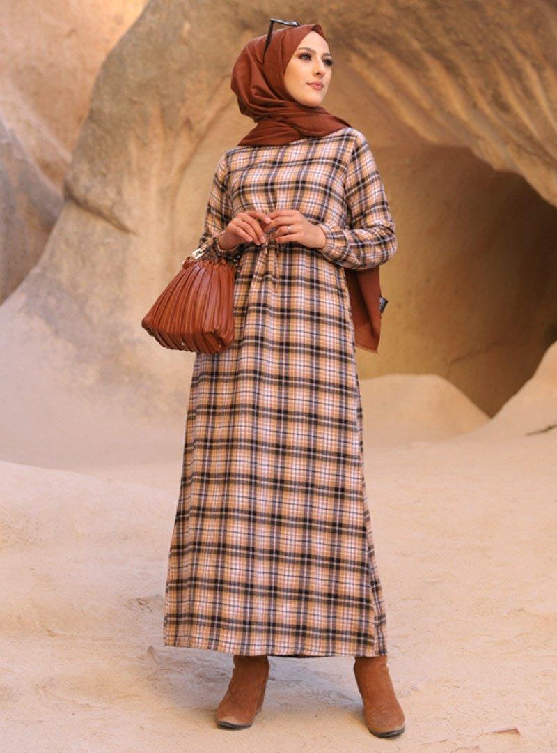 Tofisa Taba Lacivert Ekose Desenli Elbise