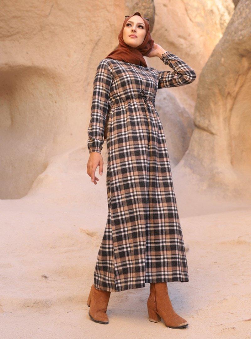 Tofisa Vizon Antrasit Ekose Desenli Elbise