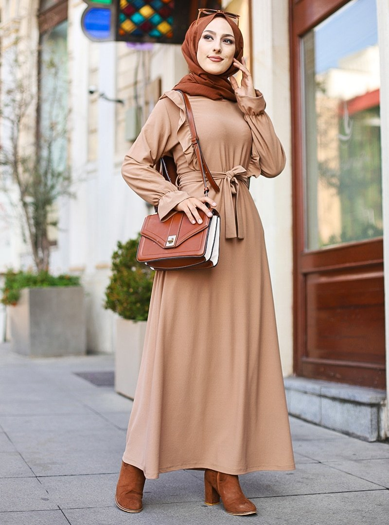 Tofisa Vizon Volan Detaylı Elbise